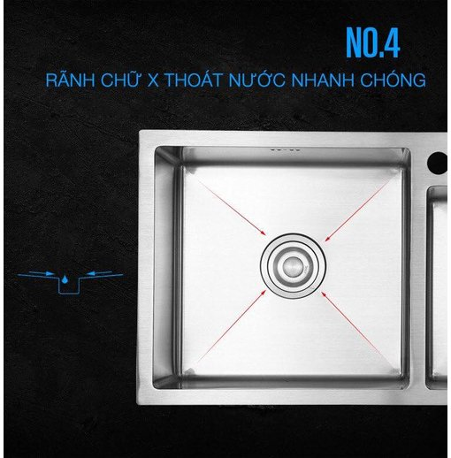 Chậu rửa bát inox 304 Nanosi N8245L