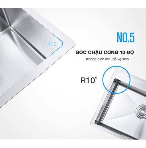 Chậu rửa bát inox 304 Nanosi N8245L 2 hố lệch
