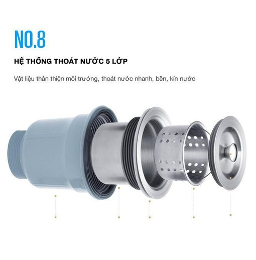 Chậu rửa bát inox 304 Nanosi N8245C