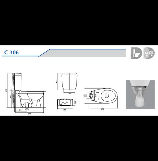 Bồn cầu hai khối Ceravi C306