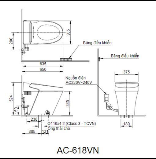 Satis Bồn Cầu Thông Minh Inax AC-618VN
