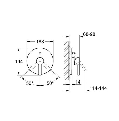 Bộ chỉnh nhiệt và chuyển hướng Grohe 19297000