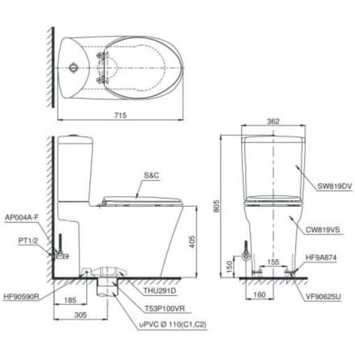 Bồn Cầu Điện Tử TOTO CS819DSW7 Nắp Rửa Washlet