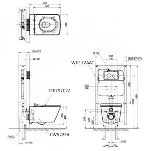 Bồn Cầu TOTO CW522EA/TCF797C2Z/WH172AAT Nắp Điện Tử Treo Tường