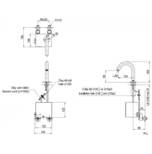 Vòi Cảm Ứng Lavabo TOTO TENA22AW/TVLF405 Nhiệt Độ