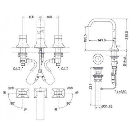 Vòi Lavabo TOTO TLG08201B 3 Lỗ