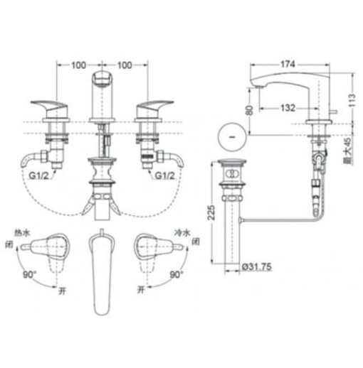 Vòi Lavabo TOTO TLG09201B 3 Lỗ