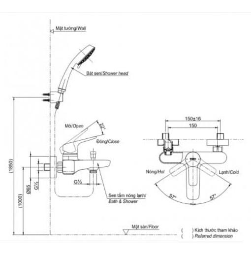 Vòi Sen Tắm TOTO TBG03302V/TBW01008A Nóng Lạnh