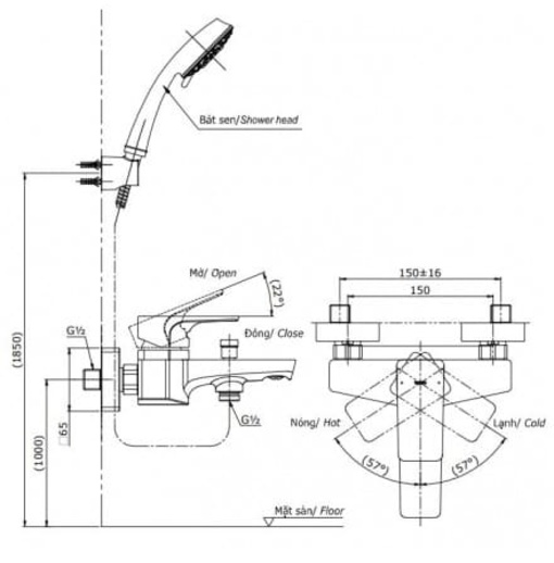 Vòi Sen Tắm TOTO TBG07302V/TBW02006A Nóng Lạnh