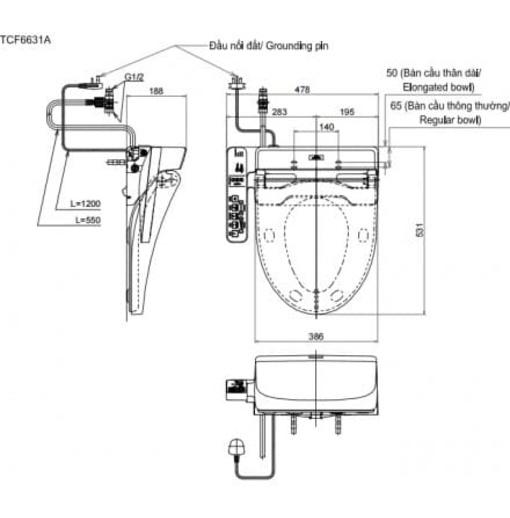 Nắp Rửa Điện Tử Washlet TOTO TCF6631A (W7)