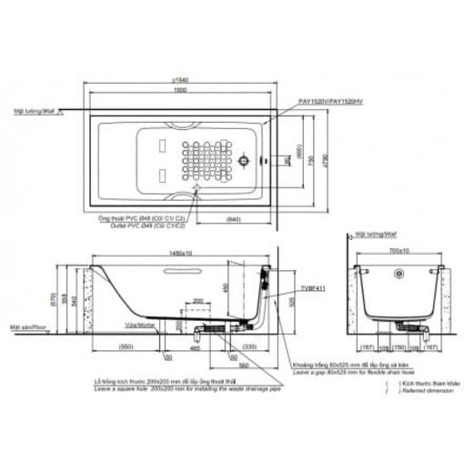 Bồn Tắm TOTO PAY1520V#W/TVBF411 Xây 1.5M