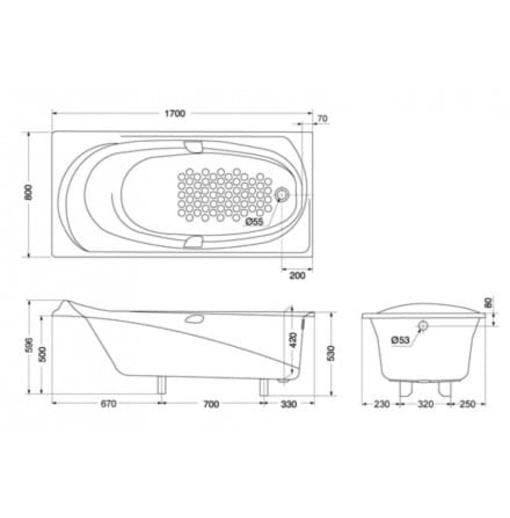 Bồn Tắm TOTO PPY1710HPE#S/DB505R-2B Ngọc Trai Xây 1.7M