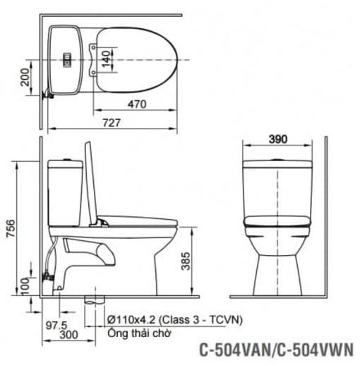 Bồn Cầu Nắp Điện Tử INAX AC-504A/CW-H18VN