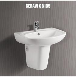 Chậu Rửa Mặt Ceravi CB105 Chân Lửng
