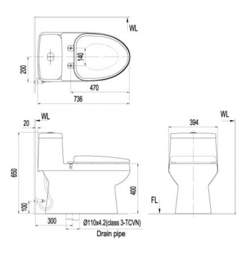 Bồn Cầu INAX AC-939/CW-S15VN Nắp Rửa Cơ