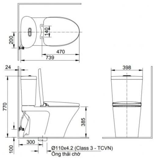 Bồn Cầu INAX AC-700A/CW-S15VN Nắp Rửa Cơ