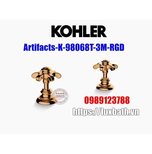 Tay chỉnh vòi bồn tắm dạng răng cưa vàng hồng Kohler Artifacts K-98068T-3M-RGD