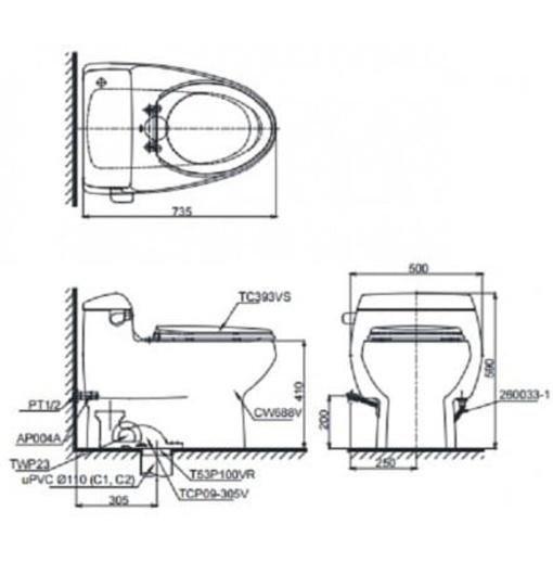 Bàn Cầu 1 khối TOTO MS688T3