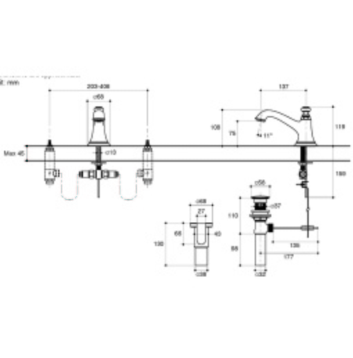 Thân vòi chậu rửa Kohler Artifacts 72759T-CP mạ chrome bóng