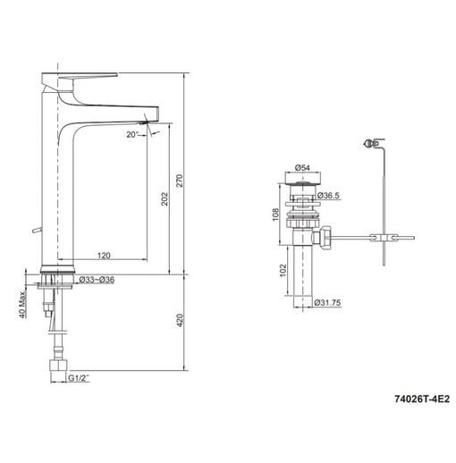 Vòi chậu rửa lavabo cao Kohler Taut K-74026T-4E2-CP mạ chrome bóng