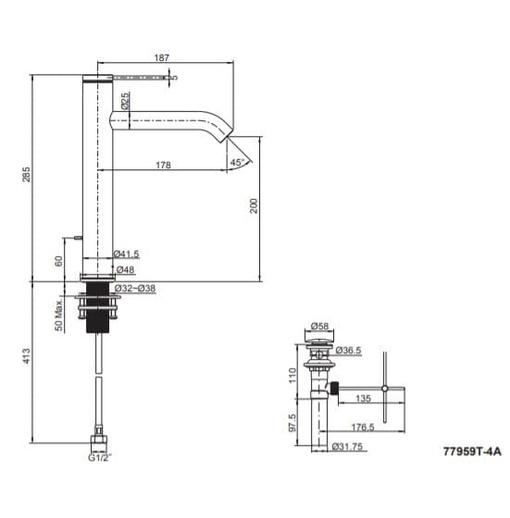 Vòi Chậu Lavabo Cao Đen Kohler Components K-77959T-4AMU-BL