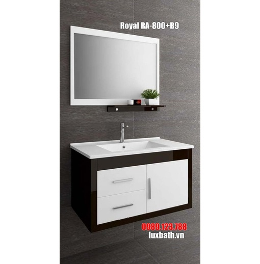 Tủ chậu đen trắng Royal RA-800+B9