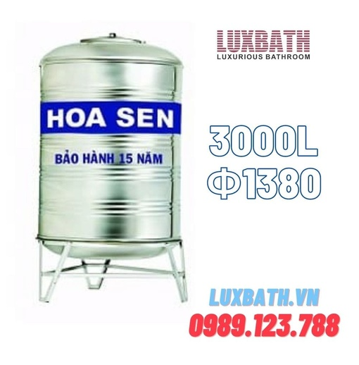 Bồn Nước Inox SUS304 Hoa Sen 3000L Đứng Phi 1380 HS 3000