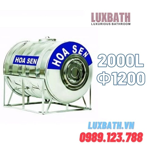 Bồn Nước Inox SUS304 Hoa Sen 2000L Nằm Ngang Phi 1200 HS 2000