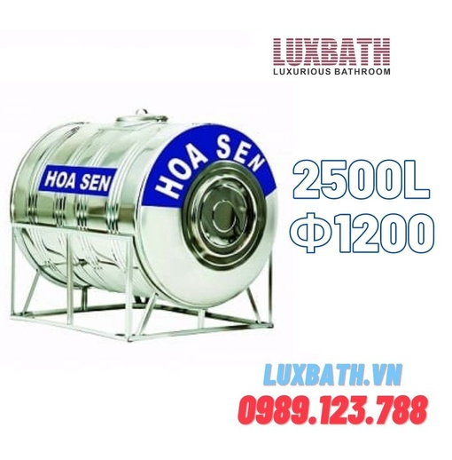 Bồn Nước Inox SUS304 Hoa Sen 2500L Nằm Ngang Phi 1200 HS 2500