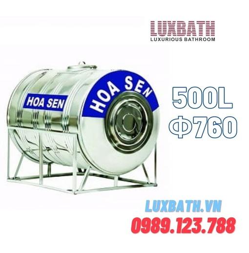 Bồn Nước Inox SUS304 Hoa Sen 500L Nằm Ngang Phi 760 HS 500