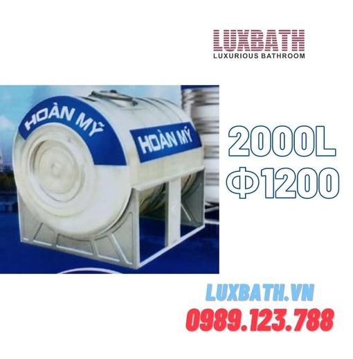 Bồn Nước Inox SUS304 Hoàn Mỹ 2000L Nằm Ngang Phi 1200 HM 2000