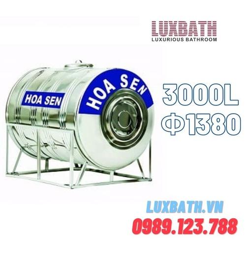 Bồn Nước Inox SUS304 Hoa Sen 3000L Nằm Ngang Phi 1380 HS 3000