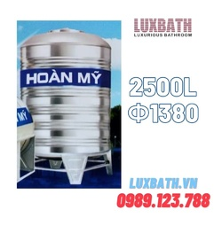 Bồn Nước Inox SUS304 Hoàn Mỹ 2500L Đứng Phi 1380 HM 2500