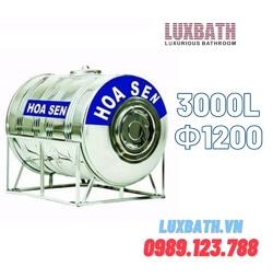Bồn Nước Inox SUS304 Hoa Sen 3000L Nằm Ngang Phi 1200 HS 3000