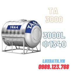 Bồn Nước Inox SUS304 Tân Á 3000L Ngang Phi 1340 TA 3000