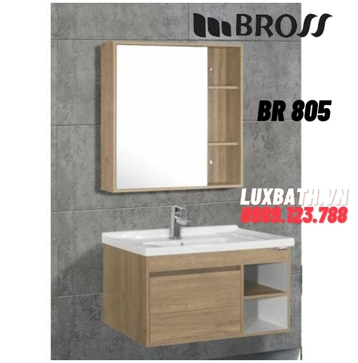 Bộ tủ chậu kèm gương Bross BR 805