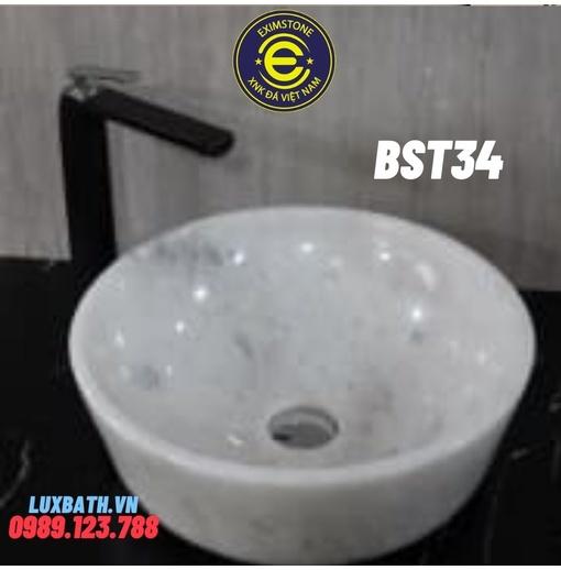 Chậu rửa lavabo dương bàn đá màu trắng có vân Eximstone BST34