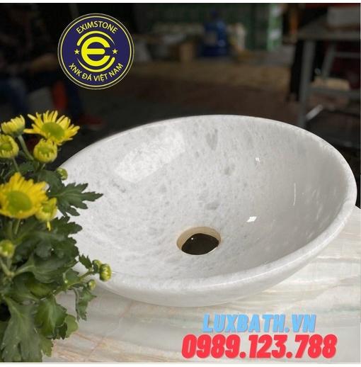 Chậu rửa lavabo tròn màu trắng có vân Eximstone BST33