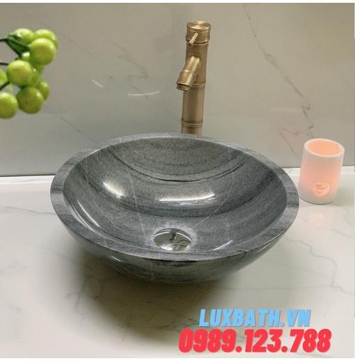 Chậu rửa lavabo tròn màu xám nghệ an Eximstone BST10