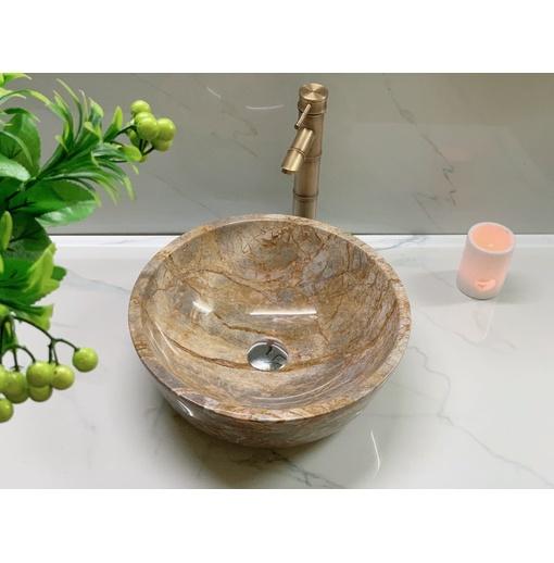 Chậu rửa lavabo màu ghi vàng thanh hóa Eximstone DK31