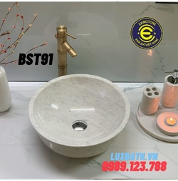 Chậu rửa lavabo màu trắng sữa Eximstone BST91