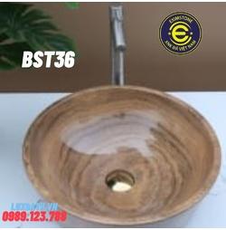 Chậu rửa lavabo màu vàng vân gỗ Eximstone BST36