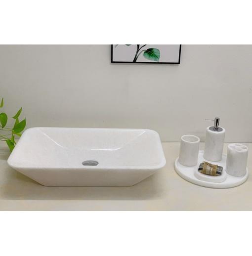 Chậu rửa lavabo chữ nhật màu trắng Eximstone BST57
