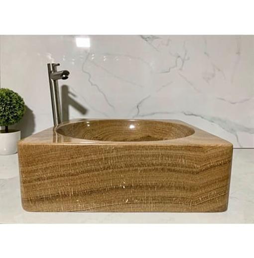 Chậu rửa lavabo vuông màu vàng vân gỗ Eximstone BST59