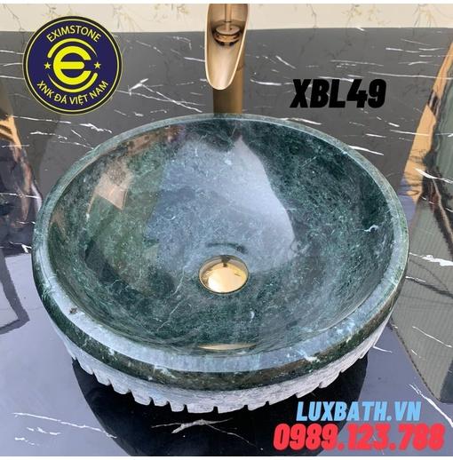 Chậu rửa lavabo dương bàn đá bóc lồi màu xanh ấn độ Eximstone XBL49