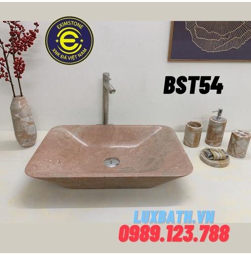 Chậu rửa mặt đá tự nhiên dương bàn đá hình chữ nhật màu hồng Eximstone BST54