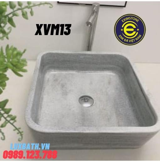 Chậu rửa lavabo dương bàn đá hình chữ nhật mỏng xám nghệ an Eximstone XVM13