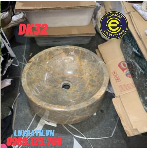 Chậu rửa lavabo tròn dày màu ghi Eximstone DK32