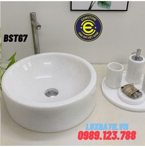 Chậu rửa lavabo tròn dày màu trắng đáy thẳng không vân Eximstone BST67