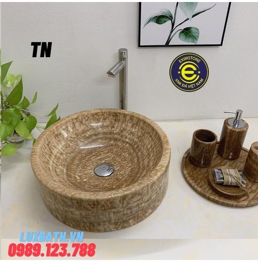 Chậu rửa lavabo tròn dày màu vàng vân gỗ Eximstone TN